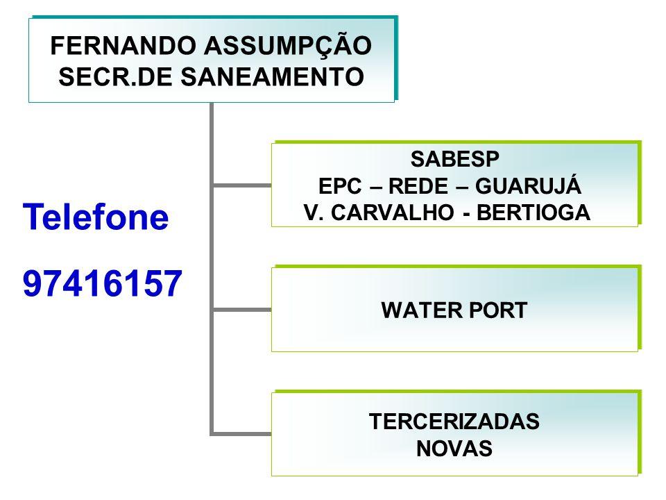 FERNANDO ASSUMPÇÃO SECR.DE SANEAMENTO SABESP EPC – REDE – GUARUJÁ V. CARVALHO - BERTIOGA WATER PORT TERCERIZADAS NOVAS Telefone 97416157
