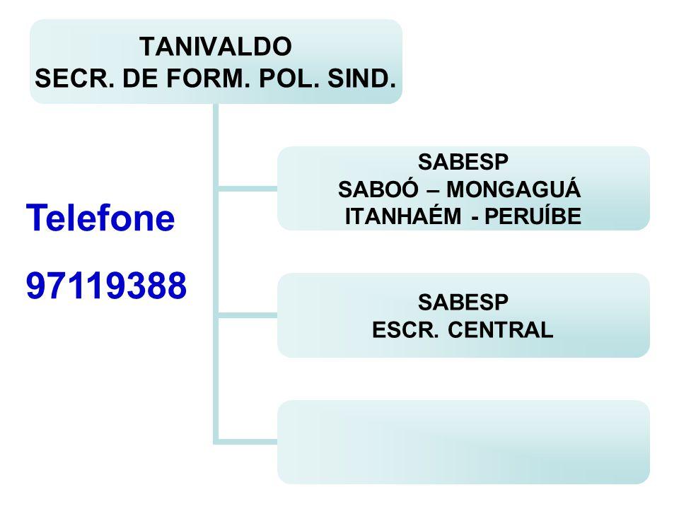 TANIVALDO SECR. DE FORM. POL. SIND. SABESP SABOÓ – MONGAGUÁ ITANHAÉM - PERUÍBE SABESP ESCR. CENTRAL Telefone 97119388