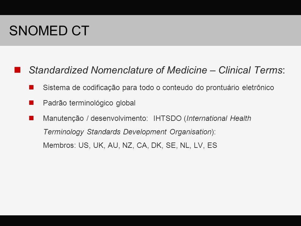 SNOMED CT Standardized Nomenclature of Medicine – Clinical Terms: Sistema de codificação para todo o conteudo do prontuário eletrônico Padrão terminológico global Manutenção / desenvolvimento: IHTSDO (International Health Terminology Standards Development Organisation): Membros: US, UK, AU, NZ, CA, DK, SE, NL, LV, ES