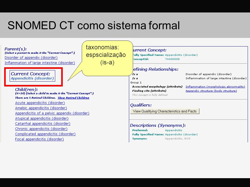 taxonomias: espscialização (is-a)