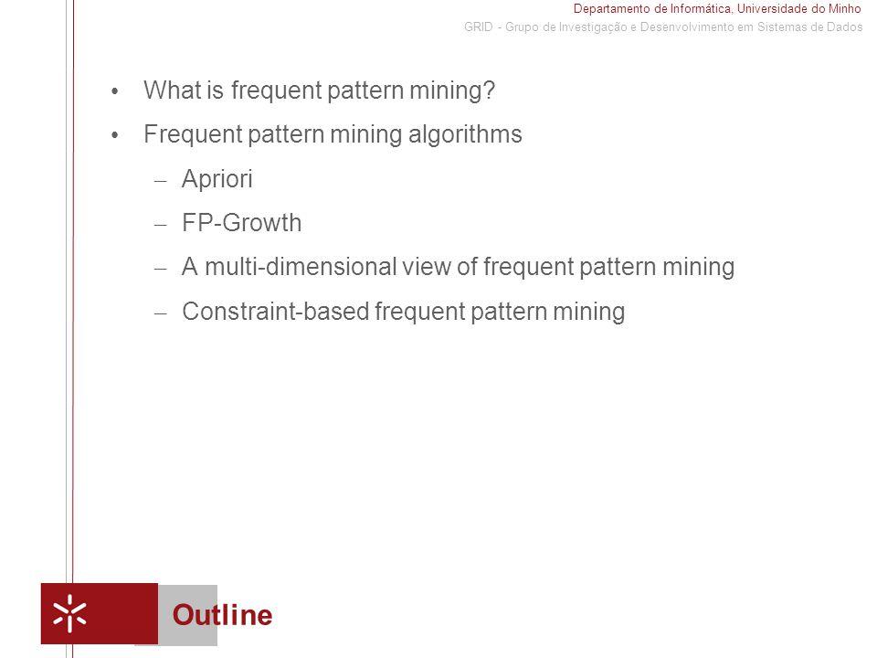 Departamento de Informática, Universidade do Minho 1 GRID - Grupo de Investigação e Desenvolvimento em Sistemas de Dados Outline What is frequent pattern mining.