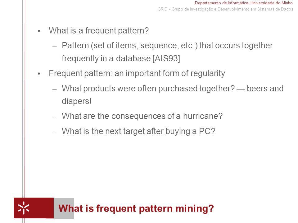 Departamento de Informática, Universidade do Minho 1 GRID - Grupo de Investigação e Desenvolvimento em Sistemas de Dados What is frequent pattern mining.