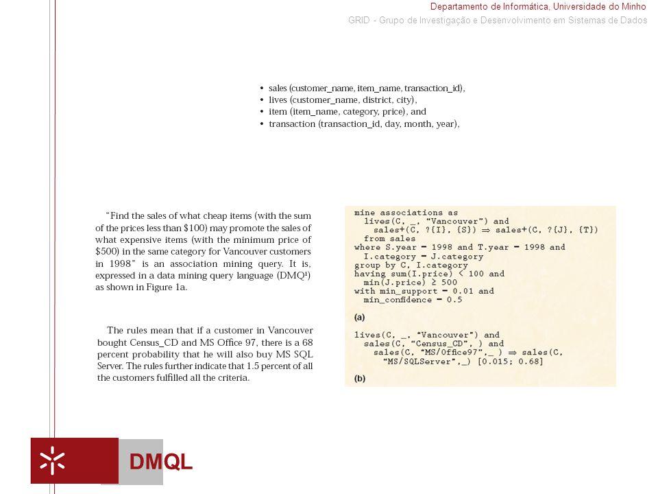 Departamento de Informática, Universidade do Minho 1 GRID - Grupo de Investigação e Desenvolvimento em Sistemas de Dados DMQL