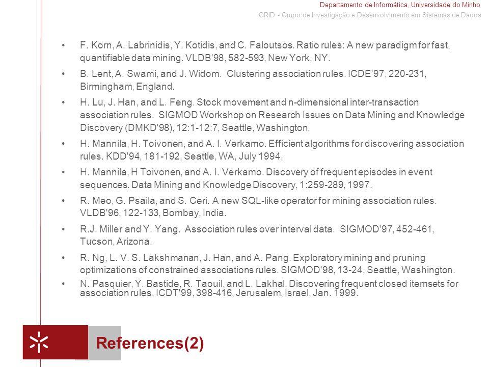 Departamento de Informática, Universidade do Minho 1 GRID - Grupo de Investigação e Desenvolvimento em Sistemas de Dados References(2) F. Korn, A. Lab