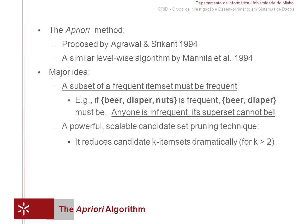 Departamento de Informática, Universidade do Minho 1 GRID - Grupo de Investigação e Desenvolvimento em Sistemas de Dados The Apriori Algorithm The Apriori method: – Proposed by Agrawal & Srikant 1994 – A similar level-wise algorithm by Mannila et al.