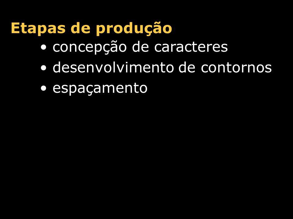 Etapas de produção concepção de caracteres desenvolvimento de contornos espaçamento kerning