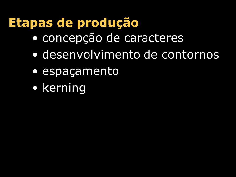 Etapas de produção concepção de caracteres desenvolvimento de contornos espaçamento kerning edição de bitmaps/hints