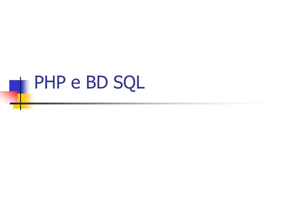PHP e BD SQL
