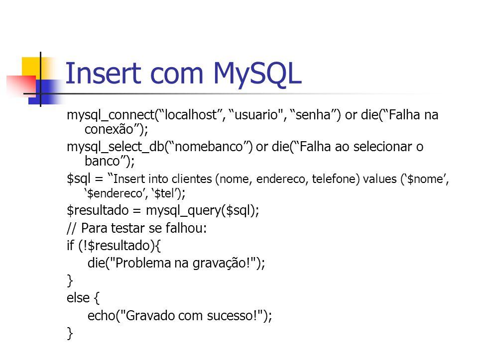 """Insert com MySQL mysql_connect(""""localhost"""", """"usuario"""