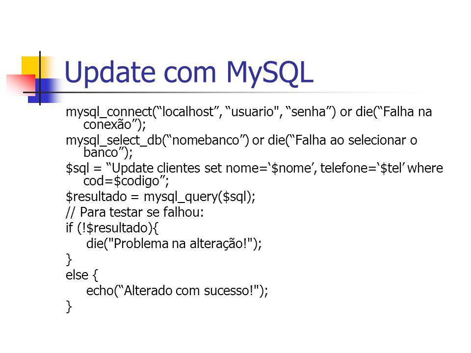 """Update com MySQL mysql_connect(""""localhost"""", """"usuario"""