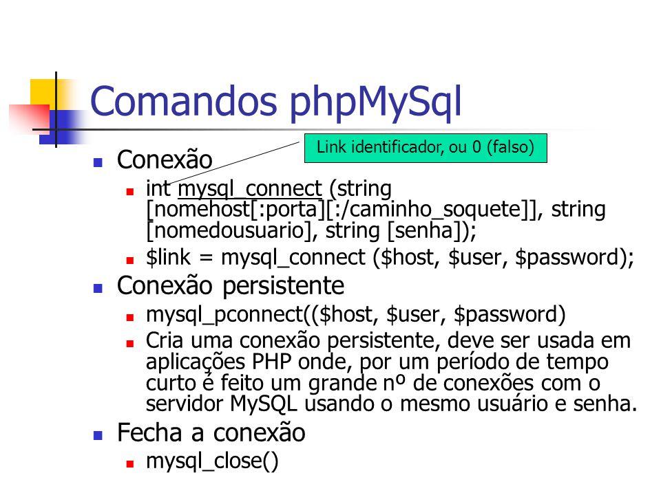 Comandos phpMySql Conexão int mysql_connect (string [nomehost[:porta][:/caminho_soquete]], string [nomedousuario], string [senha]); $link = mysql_conn