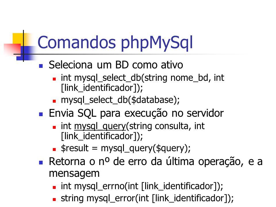 Comandos phpMySql Seleciona um BD como ativo int mysql_select_db(string nome_bd, int [link_identificador]); mysql_select_db($database); Envia SQL para