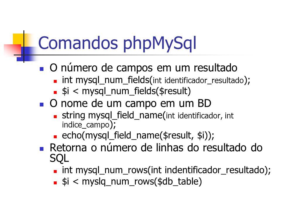 Comandos phpMySql O número de campos em um resultado int mysql_num_fields( int identificador_resultado ); $i < mysql_num_fields($result) O nome de um