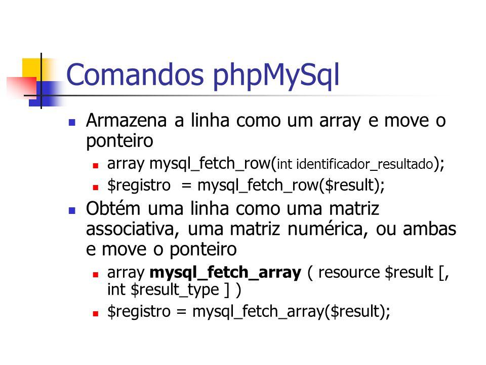 Comandos phpMySql Armazena a linha como um array e move o ponteiro array mysql_fetch_row( int identificador_resultado ); $registro = mysql_fetch_row($