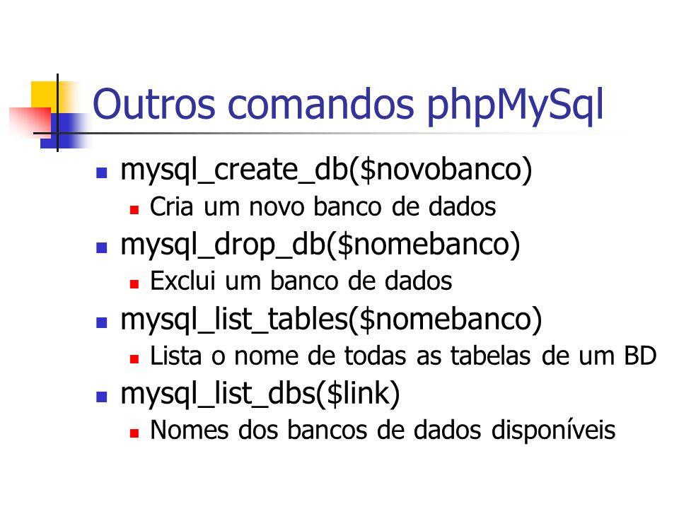 Outros comandos phpMySql mysql_create_db($novobanco) Cria um novo banco de dados mysql_drop_db($nomebanco) Exclui um banco de dados mysql_list_tables(