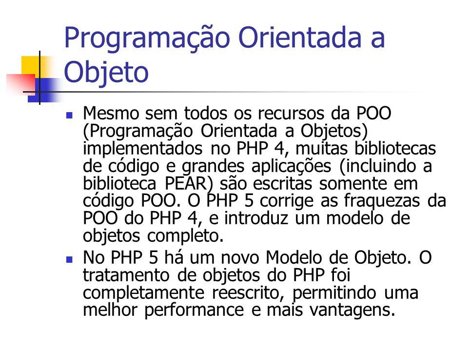 Programação Orientada a Objeto Mesmo sem todos os recursos da POO (Programação Orientada a Objetos) implementados no PHP 4, muitas bibliotecas de códi