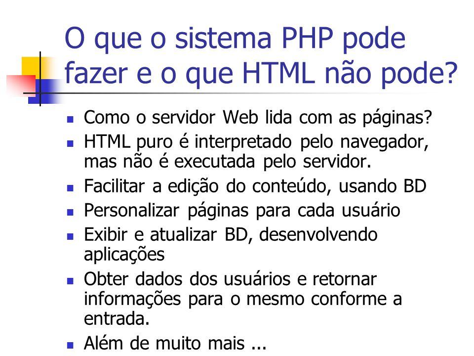 O que o sistema PHP pode fazer e o que HTML não pode? Como o servidor Web lida com as páginas? HTML puro é interpretado pelo navegador, mas não é exec