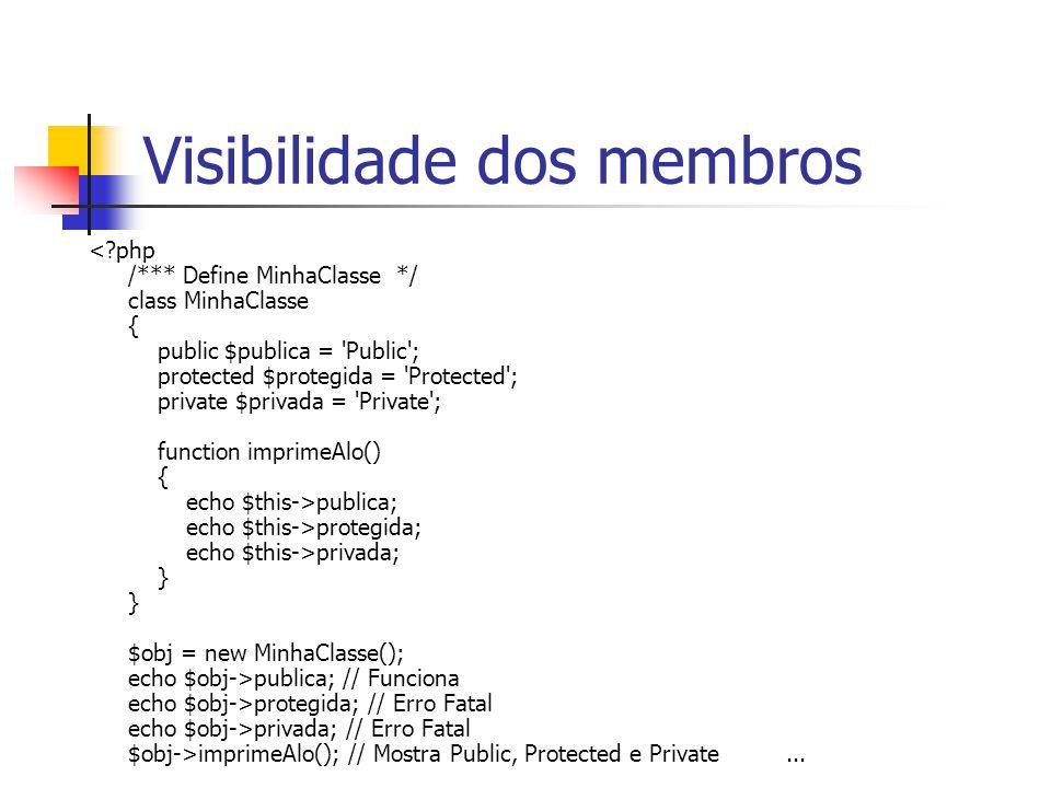 Visibilidade dos membros publica; echo $this->protegida; echo $this->privada; } } $obj = new MinhaClasse(); echo $obj->publica; // Funciona echo $obj->protegida; // Erro Fatal echo $obj->privada; // Erro Fatal $obj->imprimeAlo(); // Mostra Public, Protected e Private...