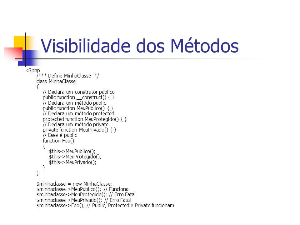 Visibilidade dos Métodos MeuPublico(); $this->MeuProtegido(); $this->MeuPrivado(); } } $minhaclasse = new MinhaClasse; $minhaclasse->MeuPublico(); //