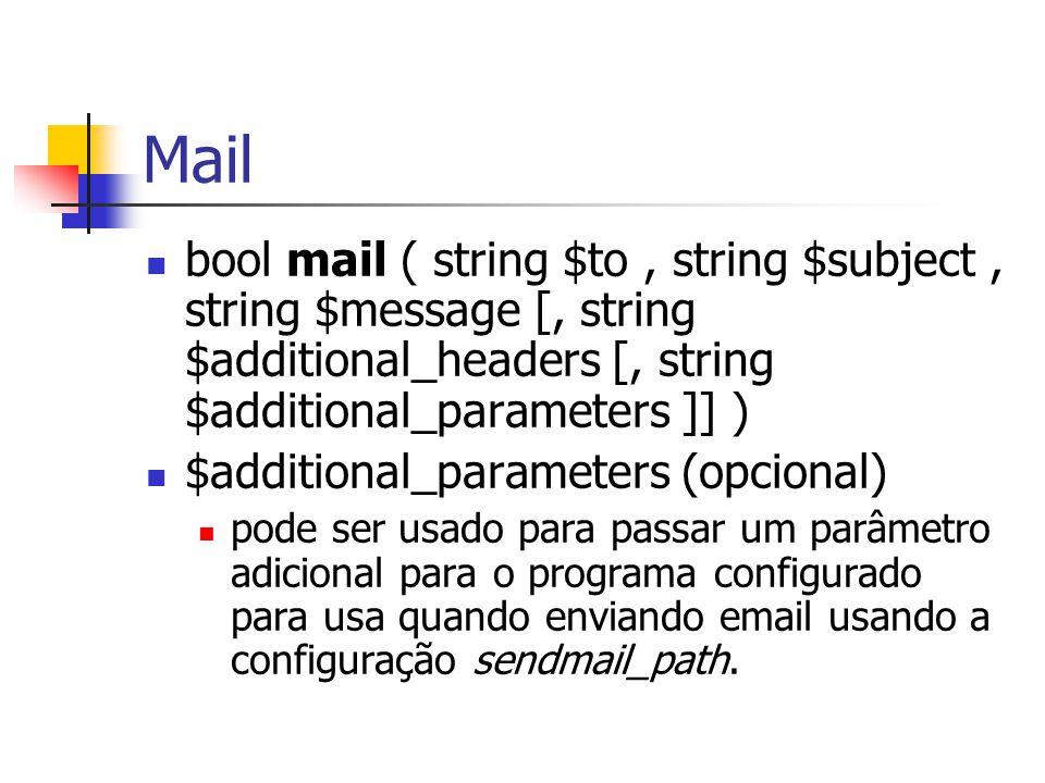 Mail bool mail ( string $to, string $subject, string $message [, string $additional_headers [, string $additional_parameters ]] ) $additional_parameters (opcional) pode ser usado para passar um parâmetro adicional para o programa configurado para usa quando enviando email usando a configuração sendmail_path.