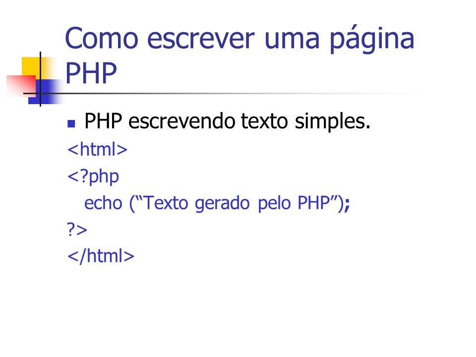 """Como escrever uma página PHP PHP escrevendo texto simples. <?php echo (""""Texto gerado pelo PHP""""); ?>"""