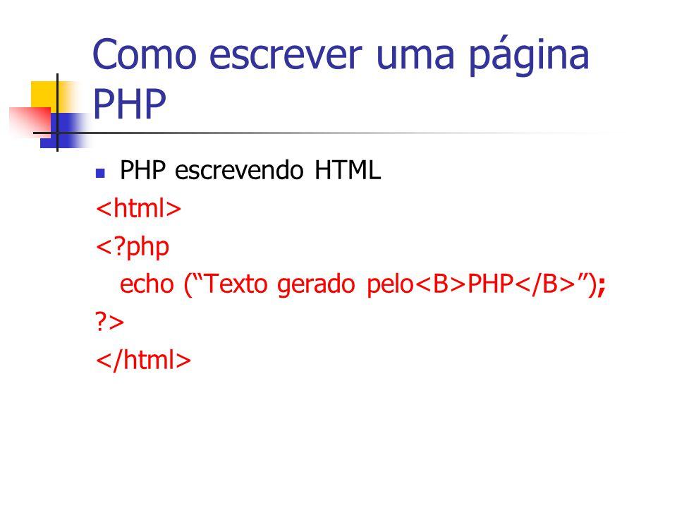 """Como escrever uma página PHP PHP escrevendo HTML <?php echo (""""Texto gerado pelo PHP """"); ?>"""