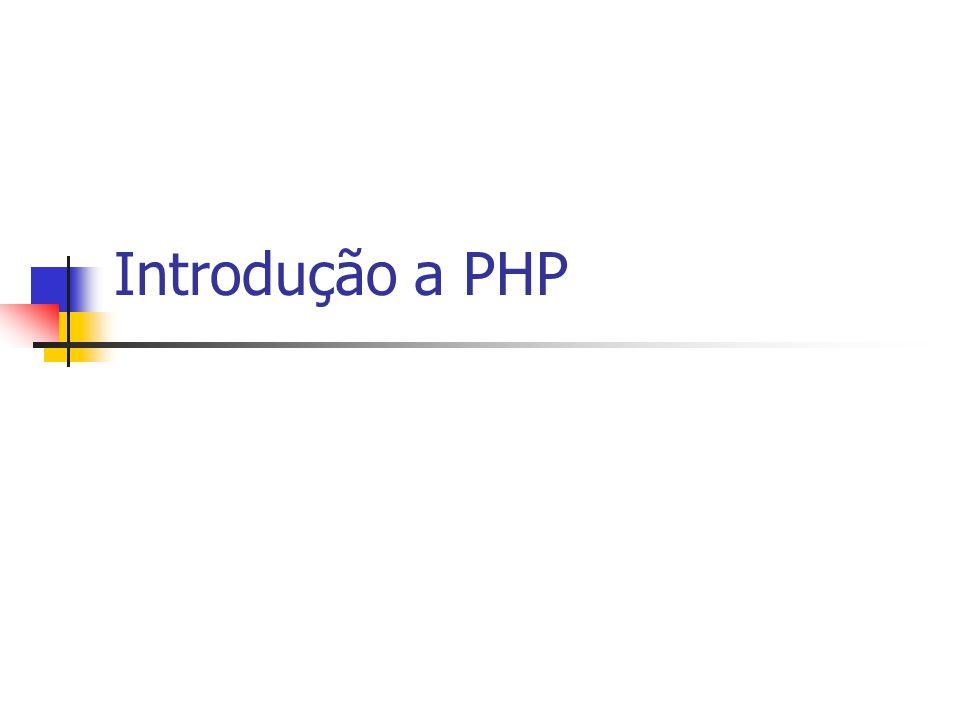 O que é PHP Linguagem com larga possibilidade de utilização tradicionalmente usada para desenvolvimento Web: armazena e consulta BD, processa pedidos dos usuários, cria documentos com informações apropriadas, interage com os servidores...