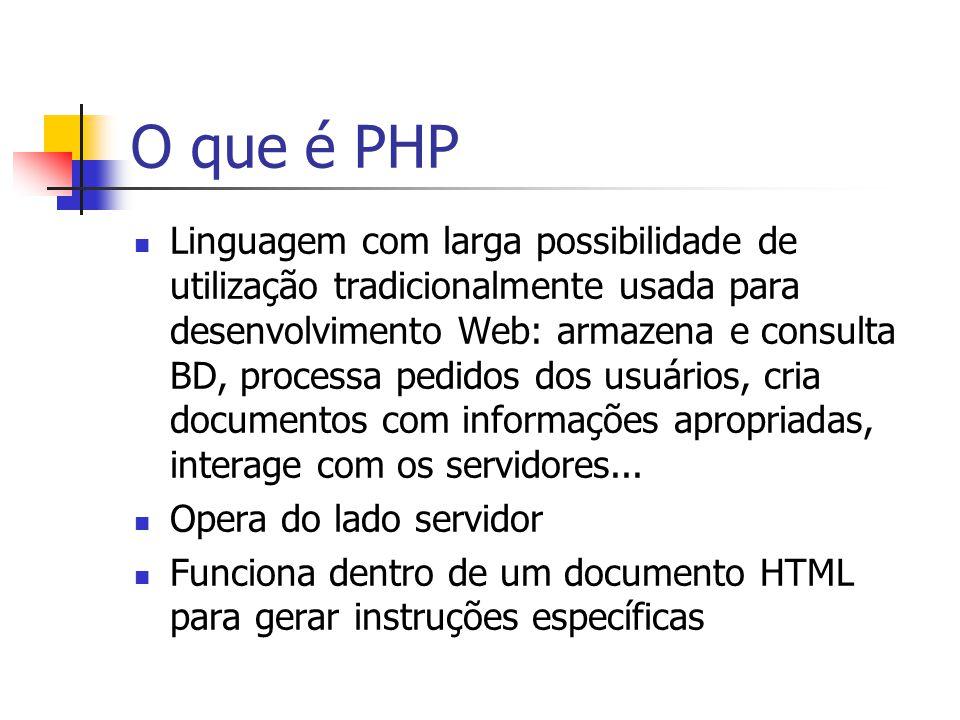 O que é PHP Simplicidade Forma fácil de usar o BD – conectividade com vários bancos Independência de plataforma Sistema de processamento de scripts bem otimizado, para respostas rápidas Pode escolher entre utilizar programação estrutural ou programação orientada a objeto, ou ainda uma mistura deles.