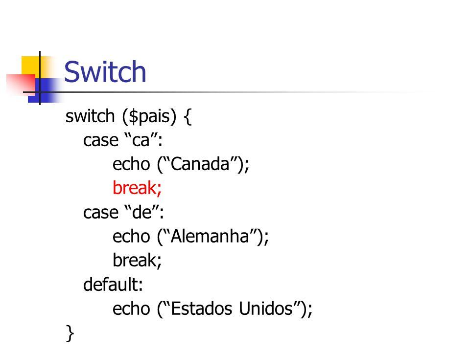 """Switch switch ($pais) { case """"ca"""": echo (""""Canada""""); break; case """"de"""": echo (""""Alemanha""""); break; default: echo (""""Estados Unidos""""); }"""