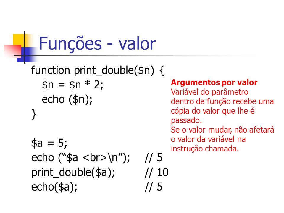 Funções - valor function print_double($n) { $n = $n * 2; echo ($n); } $a = 5; echo ( $a \n ); // 5 print_double($a); // 10 echo($a);// 5 Argumentos por valor Variável do parâmetro dentro da função recebe uma cópia do valor que lhe é passado.