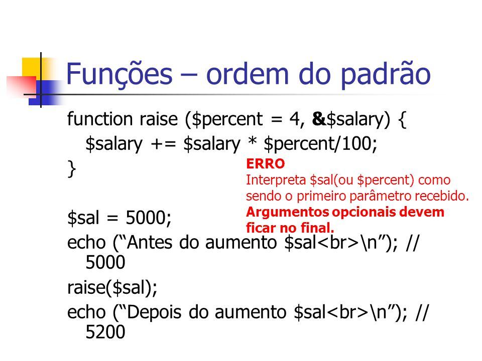 "Funções – ordem do padrão function raise ($percent = 4, &$salary) { $salary += $salary * $percent/100; } $sal = 5000; echo (""Antes do aumento $sal \n"""
