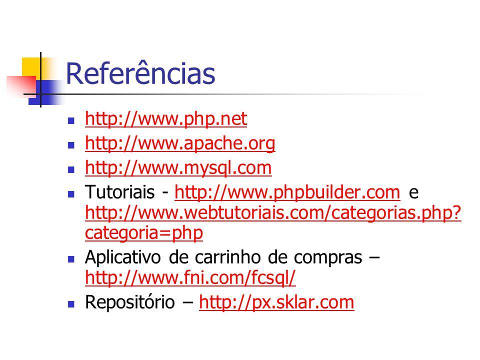 Referências http://www.php.net http://www.apache.org http://www.mysql.com Tutoriais - http://www.phpbuilder.com e http://www.webtutoriais.com/categori