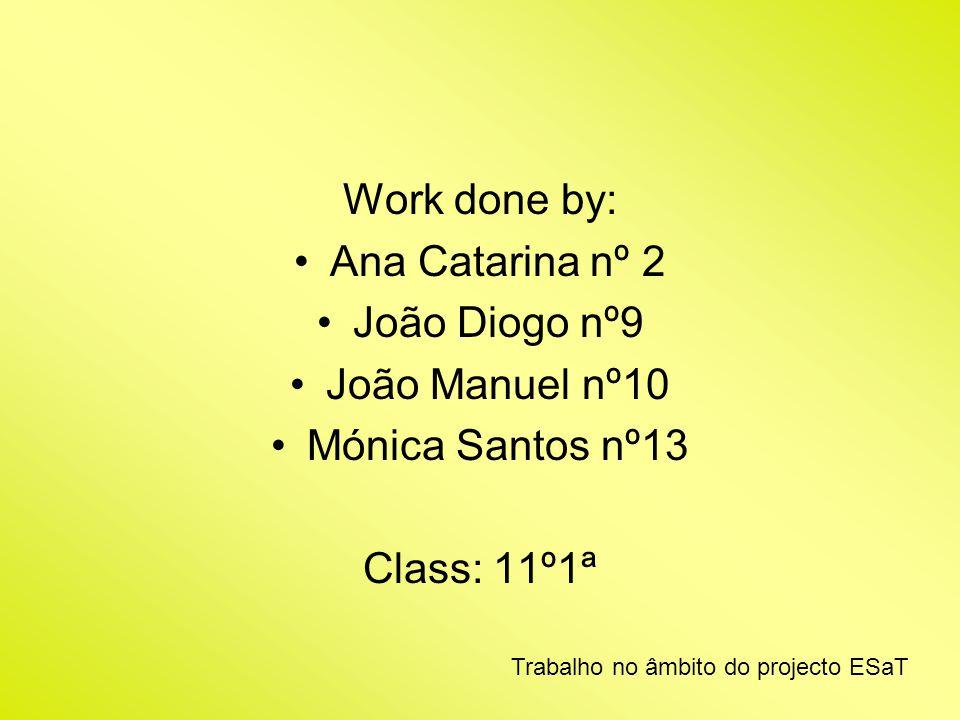 Work done by: Ana Catarina nº 2 João Diogo nº9 João Manuel nº10 Mónica Santos nº13 Class: 11º1ª Trabalho no âmbito do projecto ESaT
