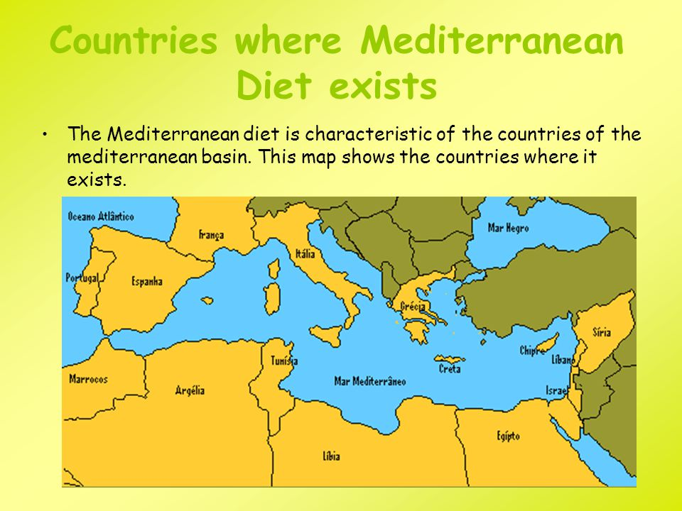 Countries where Mediterranean Diet exists The Mediterranean diet is characteristic of the countries of the mediterranean basin.
