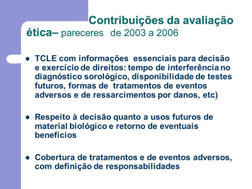 Contribuições da avaliação ética– pareceres de 2003 a 2006 Organização dos Bancos de Materiais Biológicos nas instituições de acordo com a Res.