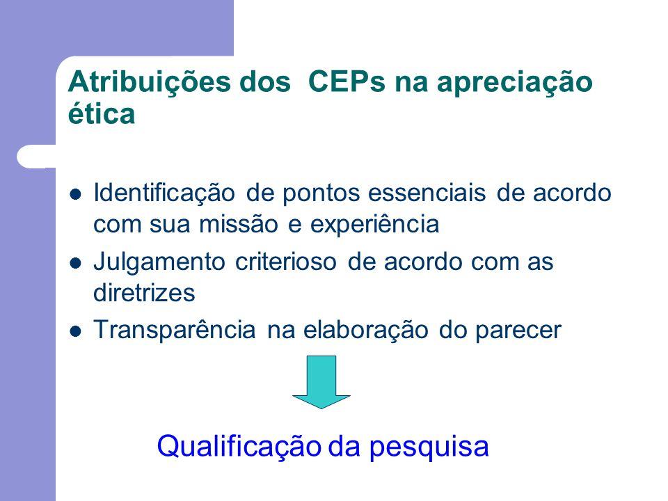 Atribuições dos CEPs na apreciação ética Identificação de pontos essenciais de acordo com sua missão e experiência Julgamento criterioso de acordo com as diretrizes Transparência na elaboração do parecer Qualificação da pesquisa