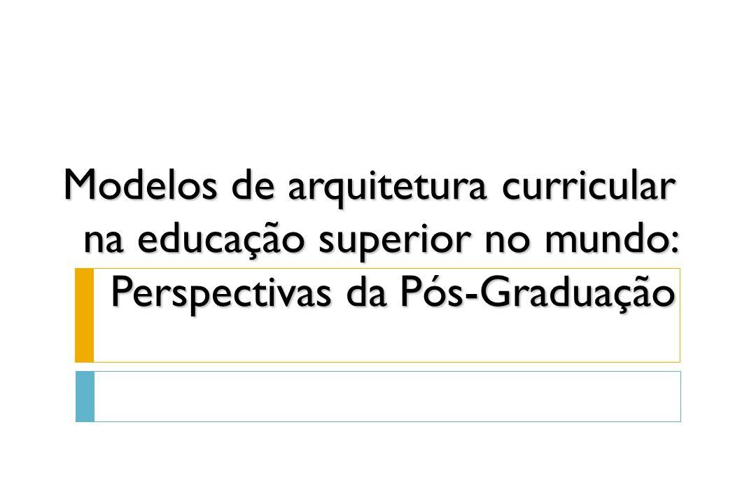 Modelos de universidade vigentes no mundo:  Modelo Norte-Americano (Flexner 1910; Alca-demia 2000)  Modelo Europeu Unificado (Processo de Bolonha 1999-2010)  Modelo Europeu Mediterrâneo (residual na Argentina e Uruguai)  Modelo Brasileiro atual (pós-reforma de 1968)