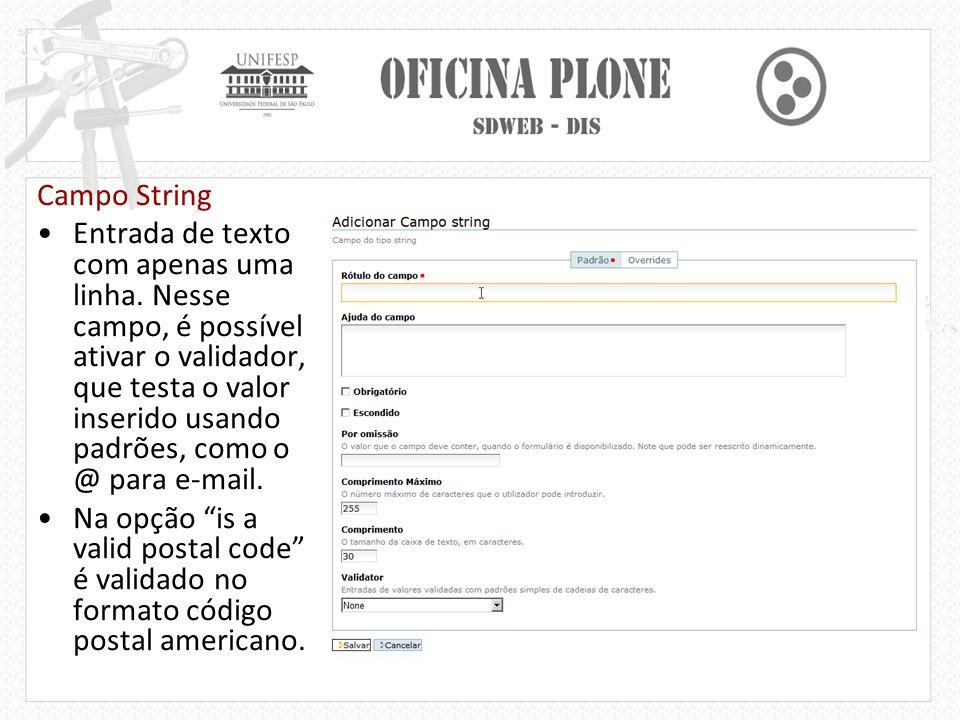 Campo String Entrada de texto com apenas uma linha.