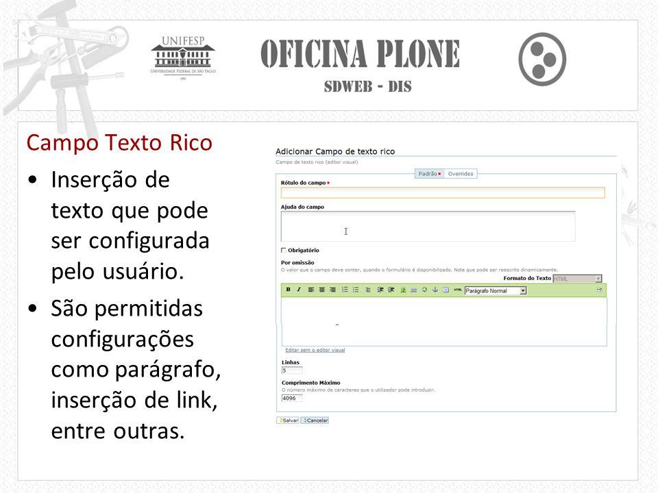 Campo Texto Rico Inserção de texto que pode ser configurada pelo usuário.