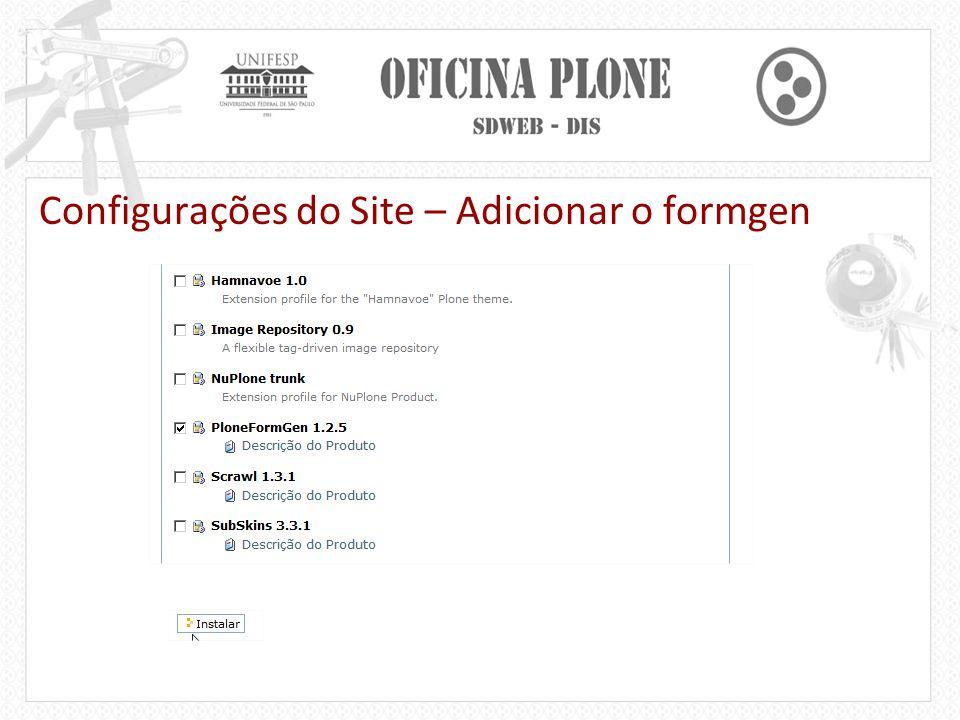 Configurações do Site – Adicionar o formgen