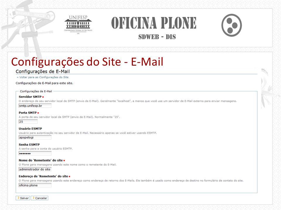 Configurações do Site - E-Mail