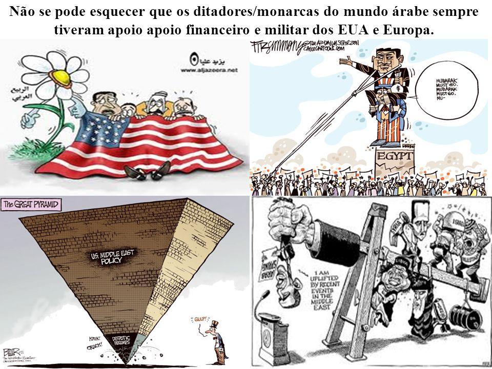 Não se pode esquecer que os ditadores/monarcas do mundo árabe sempre tiveram apoio apoio financeiro e militar dos EUA e Europa.