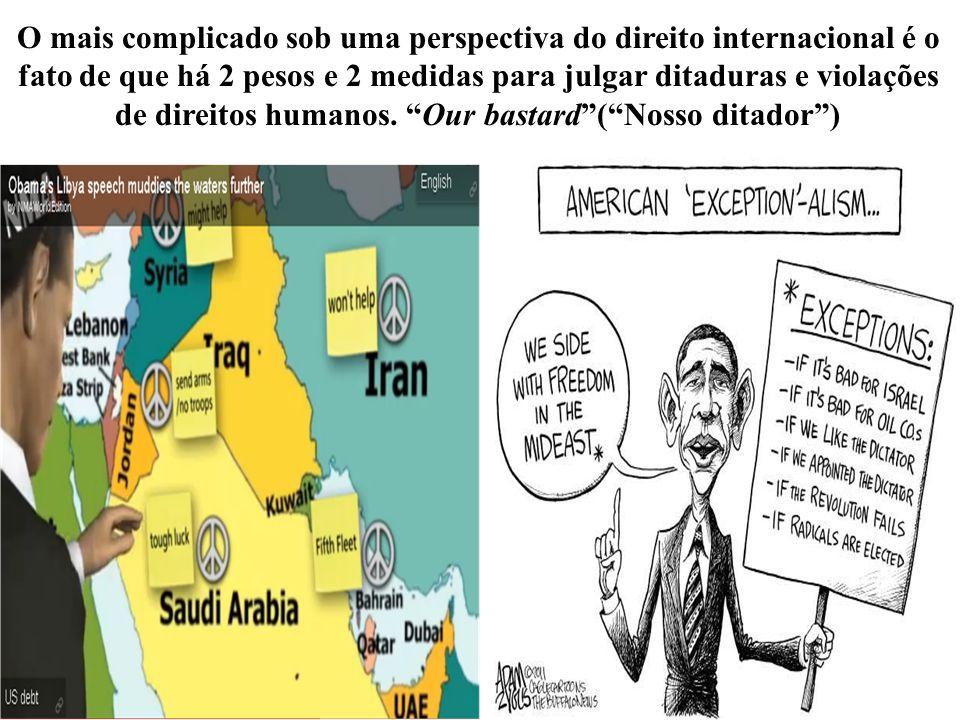 O mais complicado sob uma perspectiva do direito internacional é o fato de que há 2 pesos e 2 medidas para julgar ditaduras e violações de direitos humanos.
