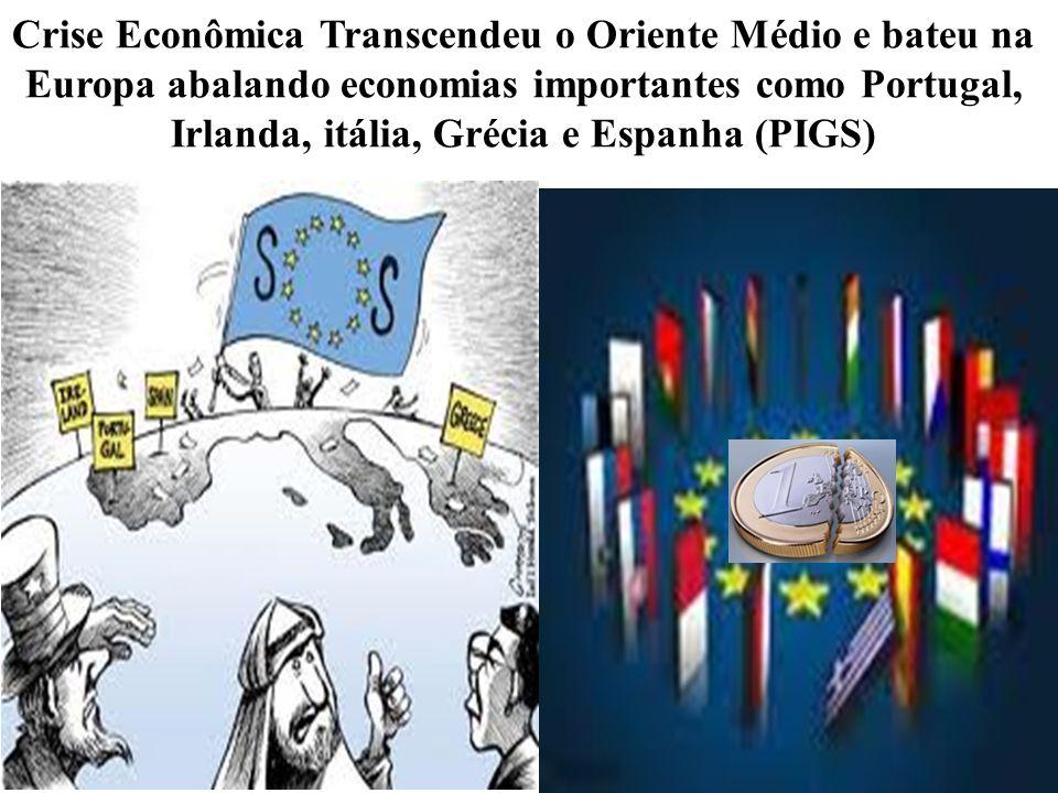 Crise Econômica Transcendeu o Oriente Médio e bateu na Europa abalando economias importantes como Portugal, Irlanda, itália, Grécia e Espanha (PIGS)
