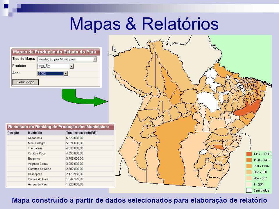Mapas & Relatórios Mapa construído a partir de dados selecionados para elaboração de relatório