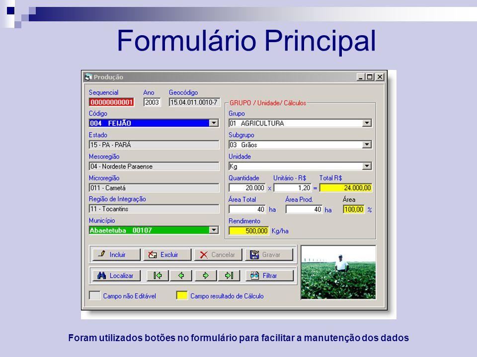 Formulário Principal Foram utilizados botões no formulário para facilitar a manutenção dos dados