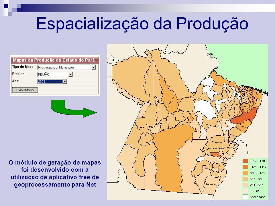 Espacialização da Produção O módulo de geração de mapas foi desenvolvido com a utilização de aplicativo free de geoprocessamento para Net