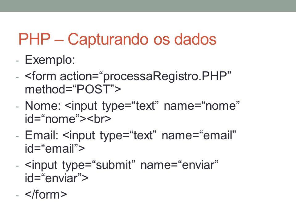 PHP – Capturando os dados - Exemplo: - - Nome: - Email: -