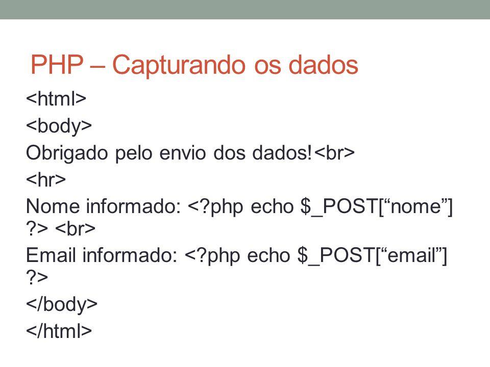 PHP – Capturando os dados Obrigado pelo envio dos dados! Nome informado: Email informado: