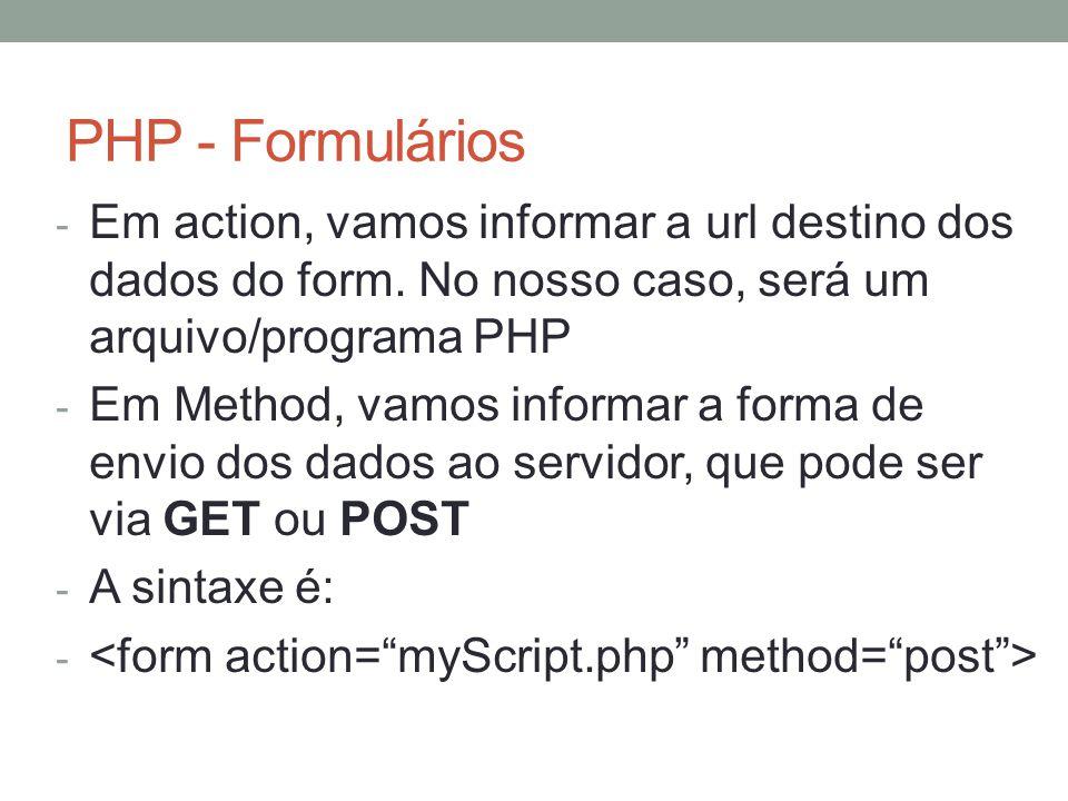 PHP - Formulários - Em action, vamos informar a url destino dos dados do form.